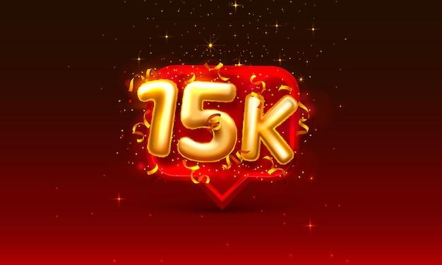 Grazie seguaci persone, gruppo sociale online 15k