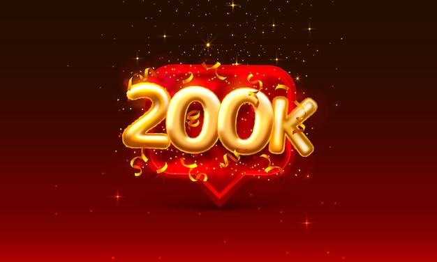 Grazie seguaci persone, 200k gruppo sociale online, segno