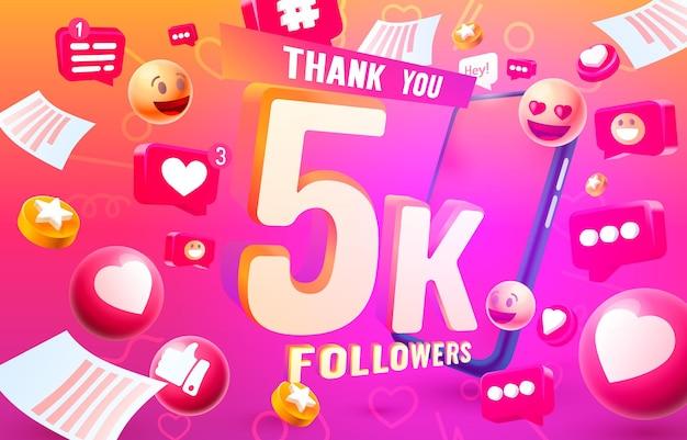 Grazie seguaci popoli, gruppo sociale online 5k, felice banner festeggia, illustrazione vettoriale