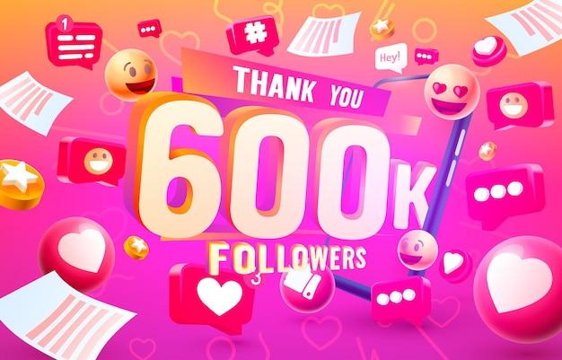 Grazie seguaci popoli, gruppo sociale online 600k, felice banner festeggia, illustrazione vettoriale