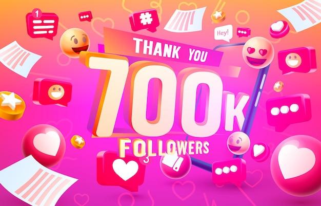 Grazie seguaci popoli, 700k gruppo sociale online, felice banner festeggia, illustrazione vettoriale