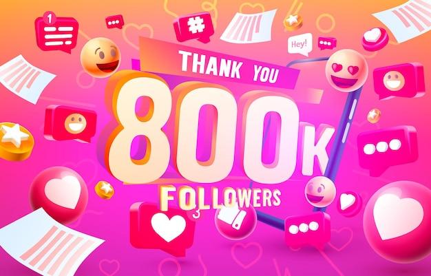 Grazie seguaci popoli, gruppo sociale online 800k, felice banner festeggia, illustrazione vettoriale