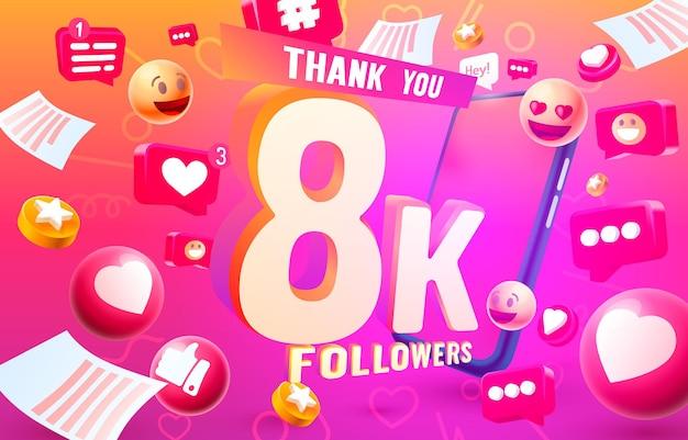 Grazie seguaci popoli, gruppo sociale online 8k, felice banner festeggia, illustrazione vettoriale