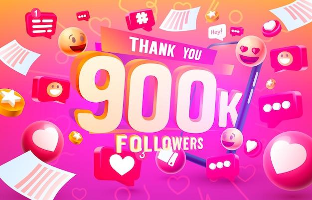 Grazie seguaci popoli, 900k gruppo sociale online, felice banner festeggia, illustrazione vettoriale