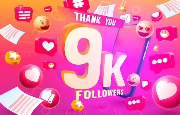 Grazie seguaci popoli, gruppo sociale online 9k, felice banner festeggia, illustrazione vettoriale