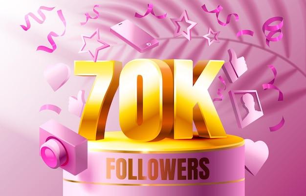 Grazie seguaci persone k gruppo sociale online banner felice celebrare vettore