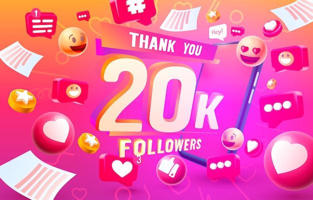 Grazie seguaci popoli k gruppo sociale online felice banner festeggiare vettore