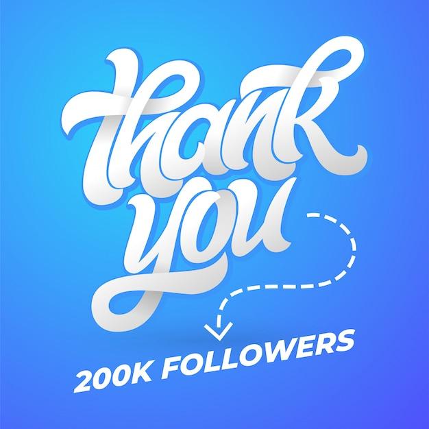 Grazie seguaci. modello per i social media con calligrafia pennello su sfondo blu. illustrazione. lettere scritte a mano per banner, poster, messaggio, posta.