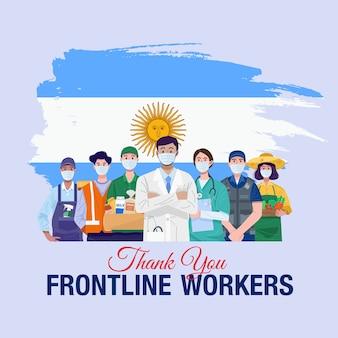Grazie lavoratori in prima linea. varie occupazioni persone in piedi con la bandiera dell'argentina.