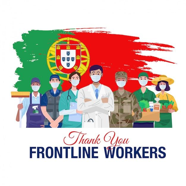 Grazie lavoratori in prima linea. varie occupazioni persone in piedi con la bandiera del portogallo. vettore