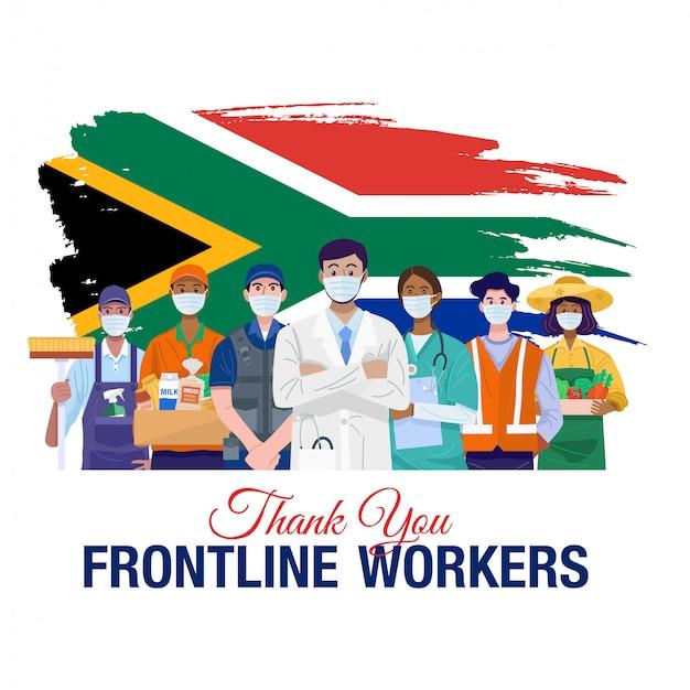 Grazie lavoratori in prima linea. varie occupazioni persone in piedi con la bandiera del sud africa. vettore