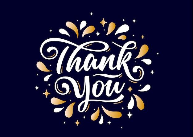 Grazie, scritte a mano grazie con grafica decorativa dorata su sfondo nero