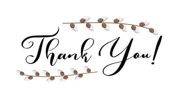Grazie scritte a mano vettore con ramoscelli di salice