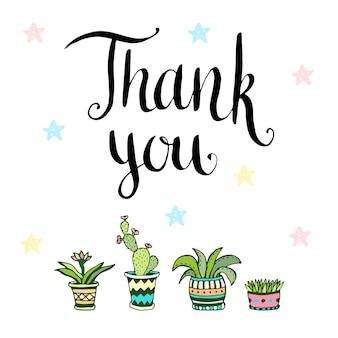 Grazie. scheda vettoriale scritta a mano con fiori in pentole