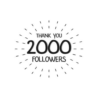 Lettere di ringraziamento per l'illustrazione vettoriale dei follower.