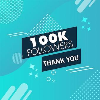 Messaggio di ringraziamento per i follower 100k su blu