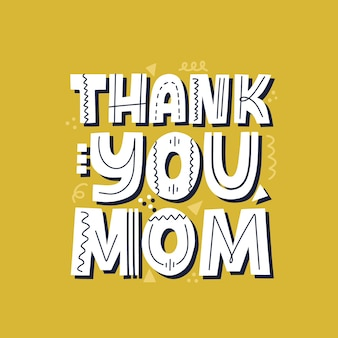 Grazie mamma citazione. modello di biglietto per la festa della mamma. lettering vettoriale disegnato a mano per t-shirt, tazza, banner.