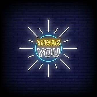 Grazie testo in stile insegne al neon