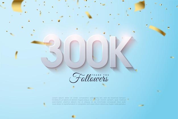 Grazie mille follower 300k con illustrazioni di numeri 3d.