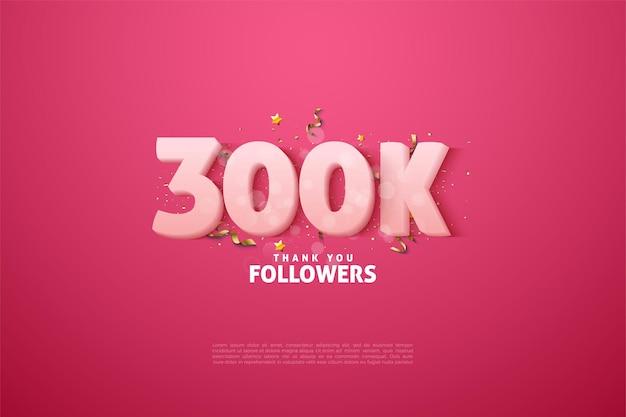 Grazie mille 300k follower con illustrazioni di figure animate.