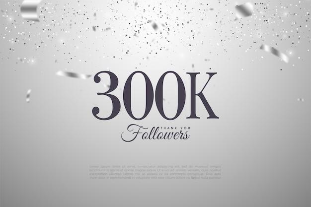Grazie mille 300k follower con numeri illustrati e nastri d'argento che cadono.
