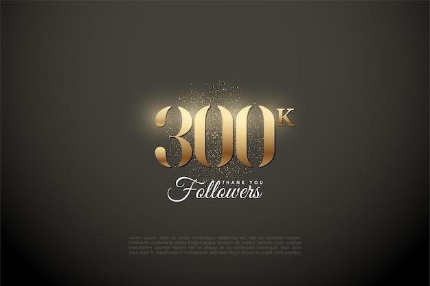 Grazie mille 300k follower con illustrazione di numeri d'oro e glitter.