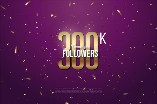 Grazie mille 300k follower con illustrazione di numeri e punti d'oro.