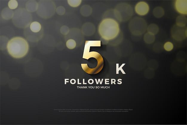 Grazie mille follower 5k con il numero troncato dall'ombra dietro di esso
