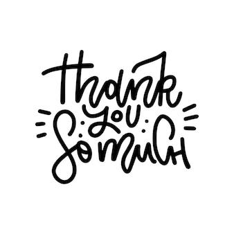 Grazie mille - carta di lettere. testo di saluti disegnati a mano.