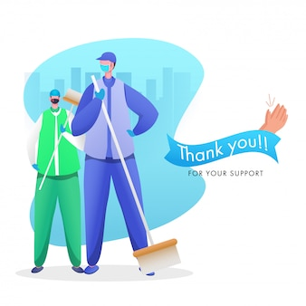 Grazie a uomini spazzini che lavorano durante il coronavirus per il vostro supporto su sfondo astratto paesaggio urbano.