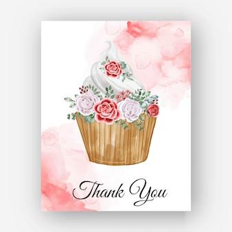Biglietto modello bouquet di rose acquerello grazie