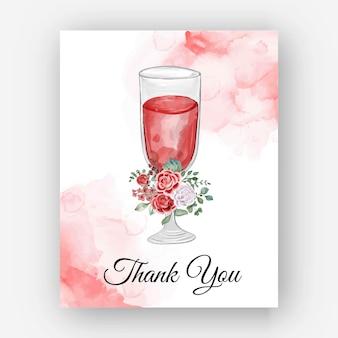 Biglietto modello vetro rosa acquerello grazie