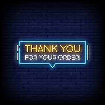 Grazie per il tuo ordine insegne al neon in stile testo vettoriale