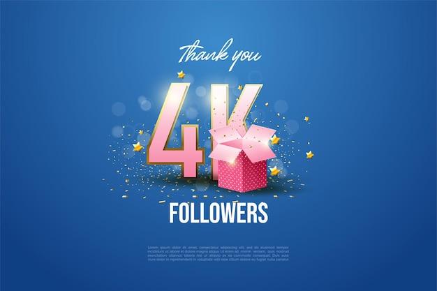 Grazie ai 4k followers l'illustrazione del numero e la confezione regalo