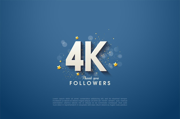 Grazie a 4k follower con numeri di design lussuosi e affascinanti