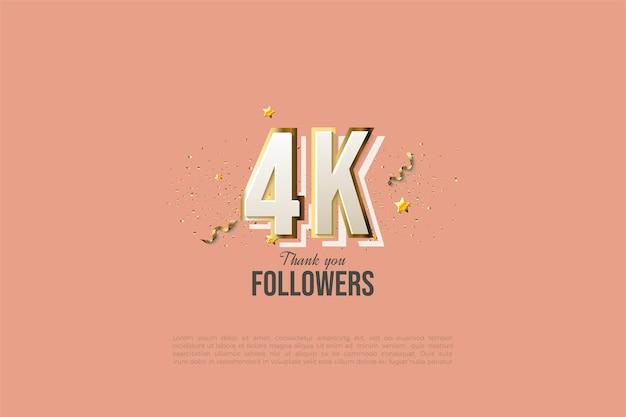 Grazie a 4k follower con numeri di design moderni