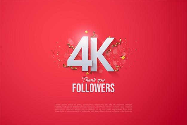 Grazie a 4k follower con numeri sovrapposti