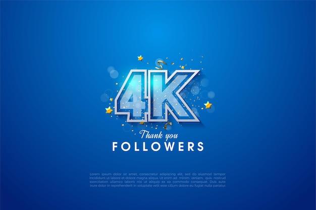 Grazie a 4k follower con numeri a strisce bianche e blu