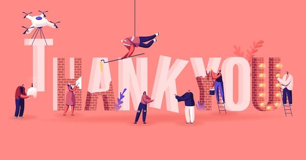 Grazie concept. personaggi maschili e femminili impostano, dipingono e decorano un'enorme parola di ringraziamento fatta di mattoni rossi. cartoon illustrazione piatta