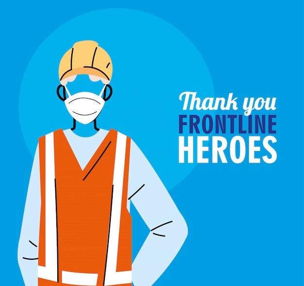Grazie ai lavoratori in prima linea. diverse persone di diverse professioni indossano maschere protettive.