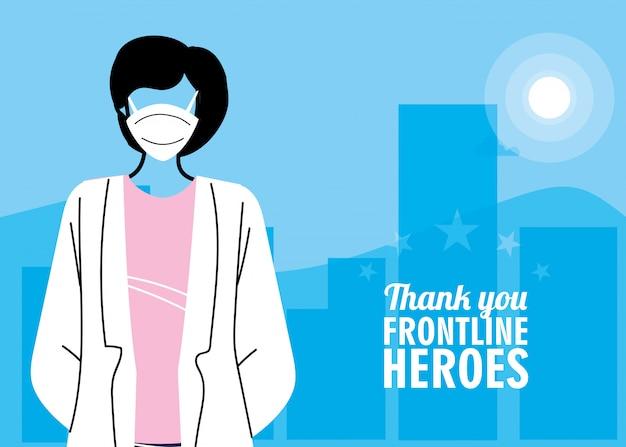 Grazie agli eroi in prima linea. medico che indossa una maschera