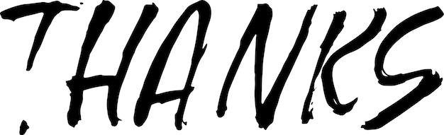 Grazie moderno modello di vettore di lettering pennello asciutto per biglietto di ringraziamento