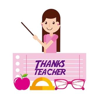 Grazie a carattere insegnante ragazza e bicchieri di mele
