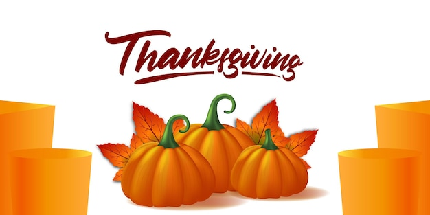 Ringraziamento 3d zucca realistica verdura e foglie d'acero cadono autunno biglietto di auguri poster modello banner