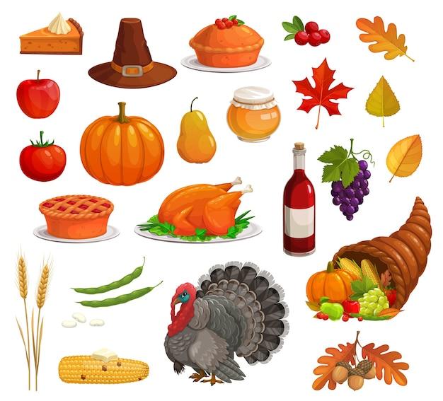 Vacanze autunnali del ringraziamento con tacchino cartone animato, cibo e cappello da pellegrino. zucca raccolta, mela e torta, cornucopia, foglie cadute, mais e uva, ghianda, grano, miele, vino, mirtilli rossi