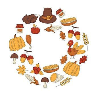 Tema autunnale del ringraziamento - corona d'autunno. disegno della cartolina