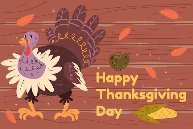 Illustrazione piana di progettazione grafica del tacchino dell'insegna del ringraziamento