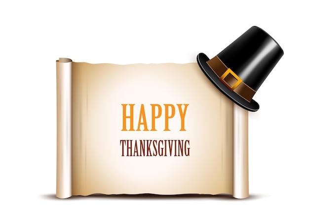 Banner di ringraziamento con cappello pellegrino su uno sfondo bianco
