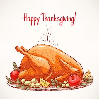 Carta di ringraziamento. appetitoso tacchino fritto. disegnato a mano. Vettore Premium
