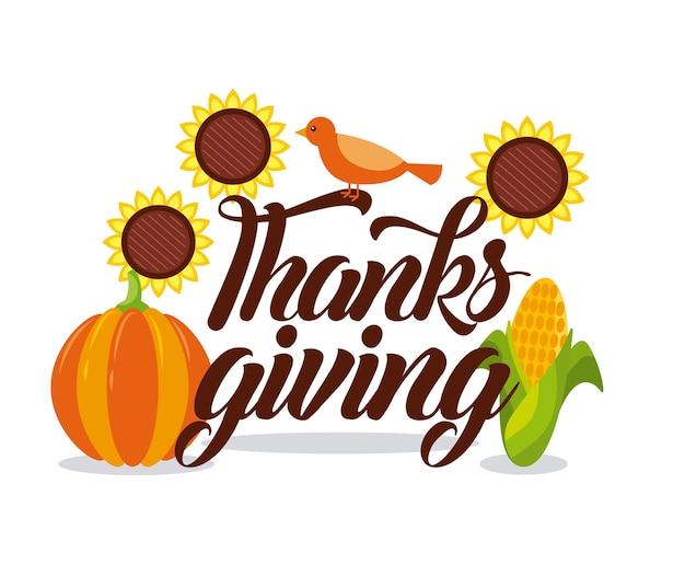 Scheda di ringraziamento lettering con mais di uccello e cibo di zucca